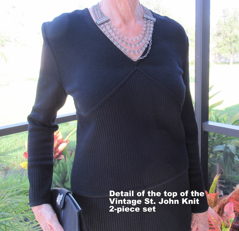 37 inch bust 2 piece ribbed knit all black set Long sleeves V-neck waist length sweater ShoptoSave Vintage St John Marie Gray Skirt 39