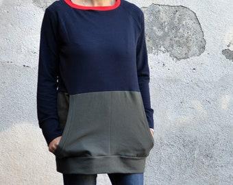 Minimal organic sweatshirt  for women, cool t sweatshirt in organic cotton