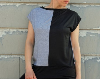 Boat neck organic t shirt in solid black and stripes