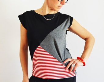 Women shirts, vest for women,short sleeve shirt,  patchwork t shirt, clothing for women,women's clothing,organic cotton, tops,vest,organic