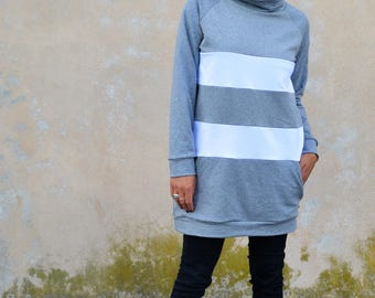 Long sweatshirt for women in organic cotton, sporty casual sweatshirt