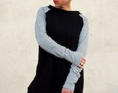 Sporty casual dress in light cotton sweater with stripes sleeves and boat neck