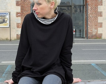 Tunic sweatshirt,loose sweater,slouchy sweatshirt,black sweatshirt,organic cotton