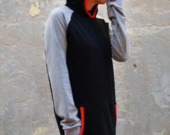 Loose hoodie sweatshirt in black and gray, sporty casual look, women sweatshirt