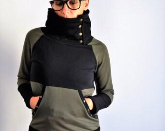 high collar sweatshirts,high collar sweaters,sweatshirt,organic cotton sweatshirt,organic cotton sweater,gift for her,organic clothing