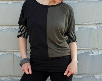 Organic t shirt in black and olive green with stripes