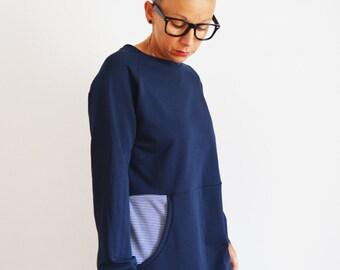 Tunic sweatshirt in cotton for women, long sweatshirts,tunic dress, organic cotton clothing,eco friendly,dress , sweatshirt dress