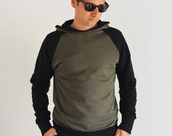 Hooded sweatshirt for men in organioc cotton fabric