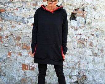 Hooded sweatshirt in organic cotton,oversized sweater,hooversized sweatshirt