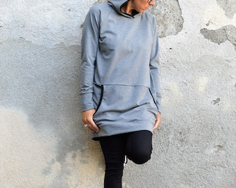 Hoodie sweater dress in gray with kangaroo pocket and sporty casual look