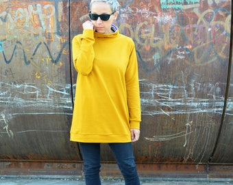 Tunic sweatshirt in organic cotton for women, long sweatshirts,tunic dress, organic cotton clothing,eco friendly