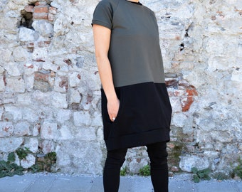 Short sleeve dress, loose fit dress in organic cotton, sporty casual dress for women