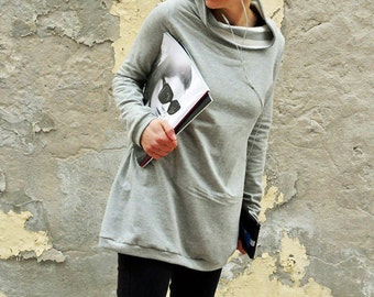 Tunic sweatshirt ,sweater dress,sweatshirt dress,long sweatshirt,organic clothing,sporty casual sweater