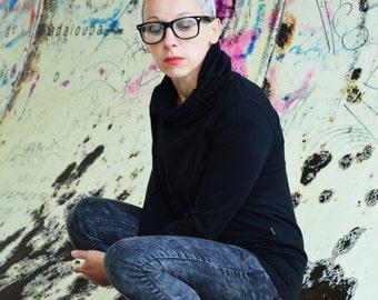 Elegant sweater in organic cotton, black sweatshirt with high collar, organic sweatshirt, gift for her