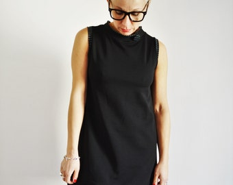 Black tunic dress in organic cotton , sporty casual dress