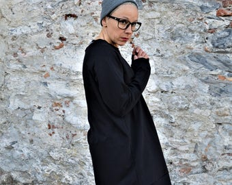 Oversized dress,organic cotton dress,women dress,sweatshirt dress,cotton dress,sporty casual clothing,organic clothing