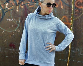 Organic cotton sweatshirt,high collar sweatshirt,sweater for women,organic cotton clothing,cool sweatshirt,women,sweatshirt