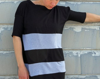 Jersey t shirt in black and gray stripes, sporty casual look, loose fit shirt