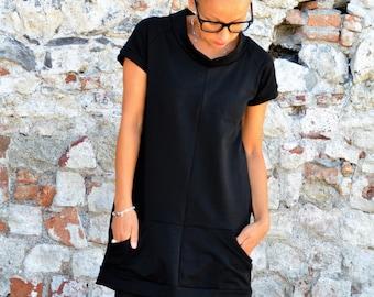 Dress,black dress,tunic dress,loose dress,organic dress,organic clothing,organic dresses,women clothings,minimal dress,short sleeve ,tunic