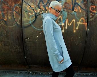 Tunic sweatshirt in cotton for women, long sweatshirts,tunic dress,sweatshirt dress, organic cotton tunic
