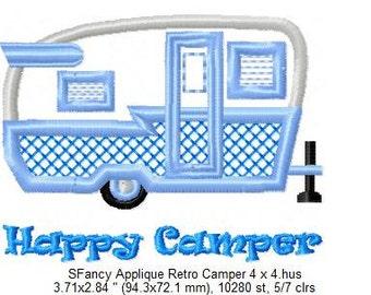 SFancy Applique Retro Camper - 4 x 4