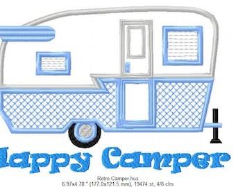 """SFancy Applique Retro """"Happy Camper"""" 7 x 5"""