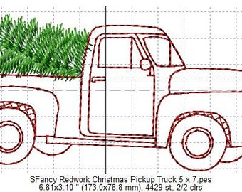 SFancy Redwork Christmas Pickup Truck 5 x 7