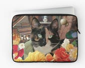 """Libra Laptop Sleeve - StarCats Zodiac Astrology Collage - for 12"""", 13"""" and 15"""" laptops - Cat Lover Gift for September October Birthday"""
