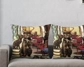Cancer StarCat Decorative Throw Pillow Cover - Astrology Zodiac Art - June July Birthday Gift for the Cat Lover 16x16 18x18 20x20 24x24