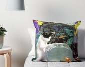 Pisces StarCat Decorative Throw Pillow Cover - Astrology Zodiac Art - February March Birthday Gift for the Cat Lover 16x16 18x18 20x20
