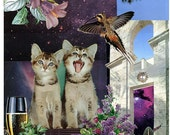 Gemini - StarCat - Zodiac Astrology Art Print - Cat Lover gift, gift for Gemini, May June birthday - Twin Kittens, Air Sign