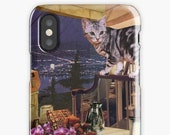Aquarius iPhone Case - Zodiac Astrology Collage Art - January February Birthday Gift for the Cat Lover - Snap or Tough Case