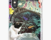 Pisces iPhone Case - Zodiac Astrology Collage Art - February March Birthday Gift for the Cat Lover - Snap or Tough Case