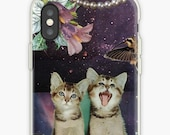 Gemini iPhone Case - Zodiac Astrology Collage Art - May June Birthday Gift for the Cat Lover - Snap or Tough Case
