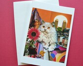 Leo StarCat Note Card, Blank 5x7 - Zodiac Astrology Sign, July August Birthday, for the Cat Lover - Greeting Card, Thank You Card