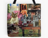 Tote Bag - Taurus StarCat - zodiac astrological collage art for the cat lover and dreamer
