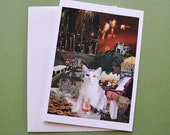 Sagittarius StarCat Note Card, Blank 5x7 - Zodiac Astrology Sign, November December Birthday, for the Cat Lover - Greeting Thank You Card