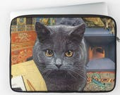 """Scorpio Laptop Sleeve - StarCats Zodiac Astrology Collage - for 12"""", 13"""" and 15"""" laptops - Cat Lover Gift for October November Birthday"""