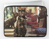 """Cancer Laptop Sleeve - StarCats Zodiac Astrology Collage - for 12"""", 13"""" and 15"""" laptops - Cat Lover Gift for June July Birthday"""