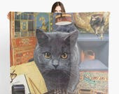 Scorpio StarCat Extra Large Scarf - Zodiac Astrological Sign Collage Art - October November Birthday Gift for the Cat Lover - 55 inch square