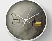 Wall clock - Collage art - the perfect white between words - surreal home decor