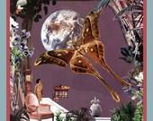 lunar eclipse - 12x12 giclee art print - collage art by livingferal