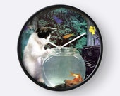Pisces StarCat Wall Clock - Astrology Zodiac Art - February March Birthday Gift for the Cat Lover