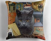 Scorpio StarCat Decorative Throw Pillow Cover - Astrology Zodiac Art - October November Birthday Gift for the Cat Lover 16x16 18x18 20x20