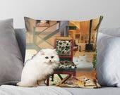 Virgo StarCat Decorative Throw Pillow Cover - Astrology Zodiac Art - August September Birthday Gift for the Cat Lover 16x16 18x18 20x20