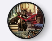Cancer StarCat Wall Clock - Astrology Zodiac Art - Surreal Magical Collage - June July Birthday Gift for the Cat Lover