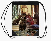 Cancer Drawstring Tote Bag - Astrology Zodiac Collage Art - June July Birthday Gift for the Cat Lover