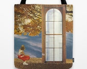 Tote Bag - adrift past the old horizons - surreal collage art for the dreamer
