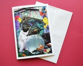 Pisces StarCat Note Card, Blank 5x7 - Zodiac Astrology Sign, February March Birthday, for the Cat Lover - Greeting Card, Thank You Card