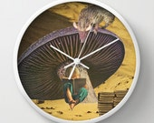 Wall clock - Collage art - early on she'd learned the art of escape - surreal home decor, children's room, kids decor